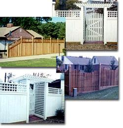 Redwood, cedar, and vinyl fencing with custom designs.