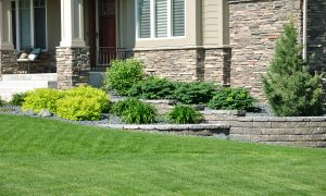 Beautifully maintained lawn with custom stone walls and flower beds