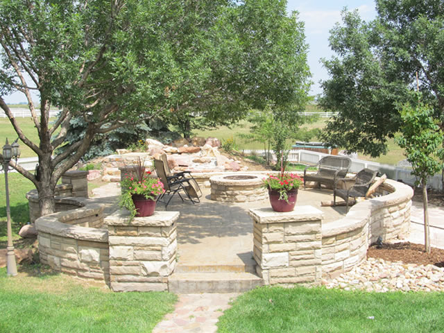 Detached patio and fire pit project in Mead, Colorado