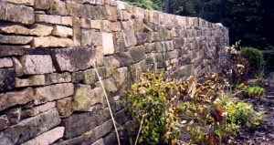 Hand-crafted stacked-stone retaining walls